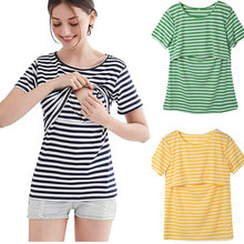 2018 Summer Striped Maternity Nursing T Shirt Women Breastfeeding Clothes for pregnant women Nursing Tees Tops Pregnancy Tshirt(China)