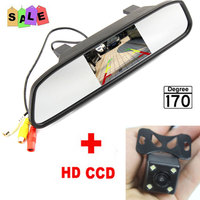 Parking Monitor HD Video Auto LED Night Vision Reversing CCD Car Rear View Camera With 4