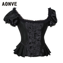 Black Corset Lace Corselet Corsets and Bustiers Gothic Lolita Short Sleeve Corset Top Overbust Sexy Bustier Corsage Basque