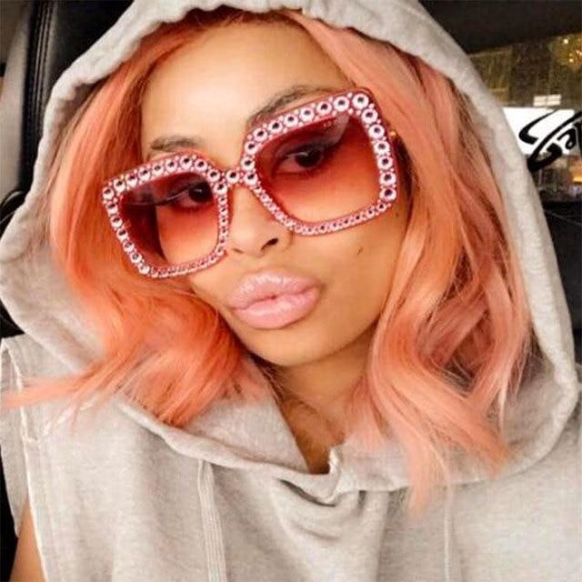 e5aaeeadb3c CCSPACE Ladies Diamond Crystal Pink Sunglasses For Women Big Frame Sqaure  Glasses Italy Brand Designer Eyewear
