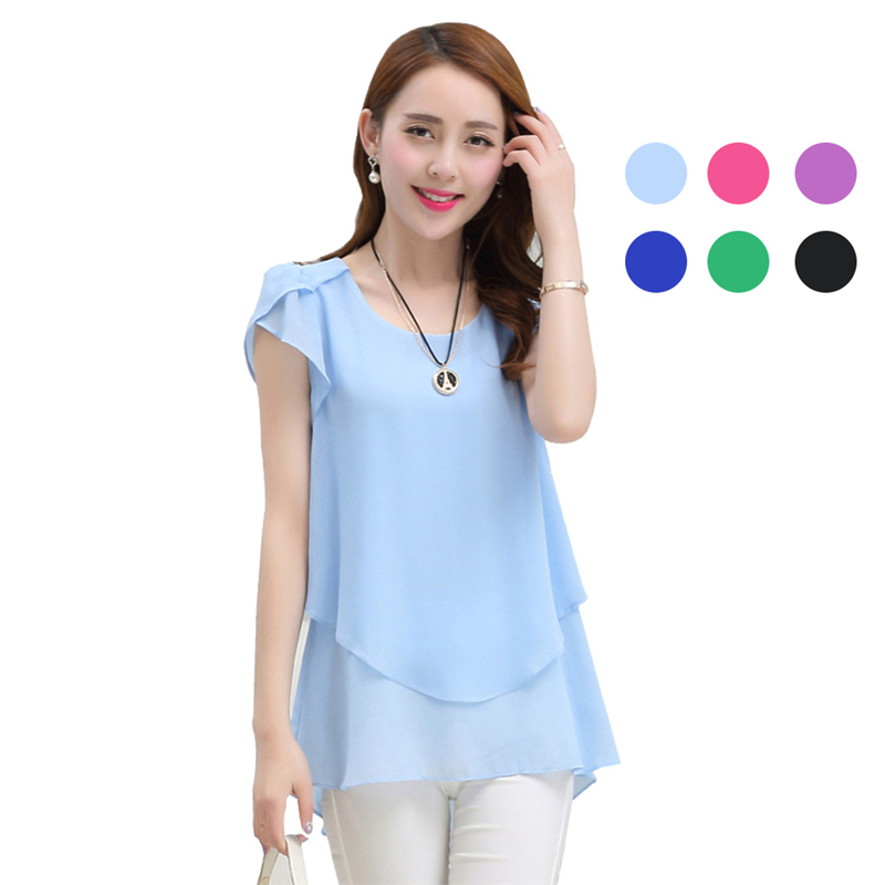 Summer Women Loose   Shirt   O-Neck Chiffon   Blouse   Short Sleeves   Blouses   Tops Plus Size 5XL IK88