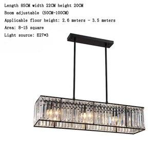 Image 2 - Jmmxiuz 3 אור אמריקאי בציר רטרו קריסטל נברשת תאורת חדר אוכל מסעדה תליית ברזל מוט תליון מנורה