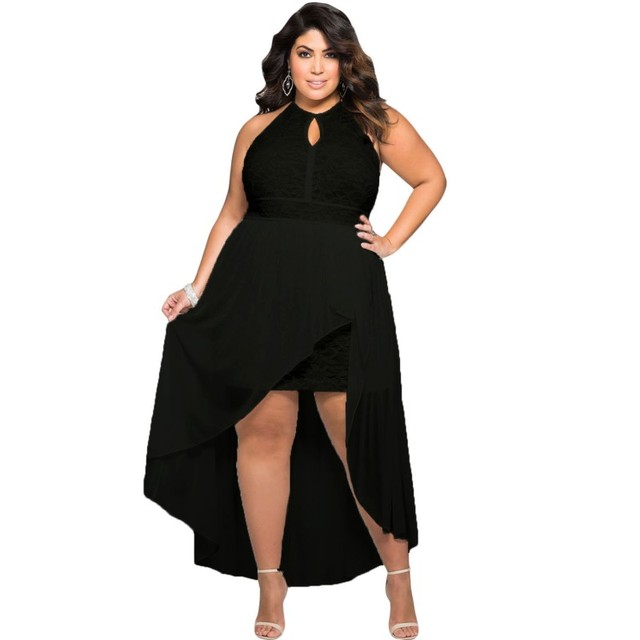 5374fe7f8f0 Высокая Низкая летнее платье женская одежда 2017 длинные Элегантные платья  для девочек большой плюс размер XXXL