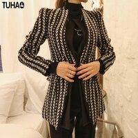 TUHAO 2017 סתיו החורף חדש נקבה מעיל גברת משרד אלגנטית נדן עסקי רזה כפתור אחת הפשיטה נשים בגדי ST27