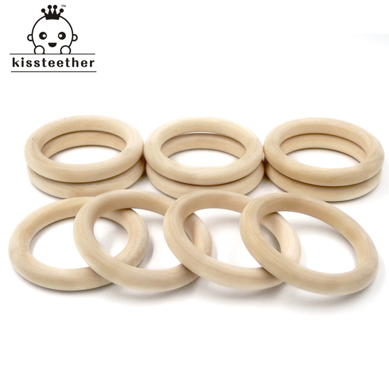 30mm(1.18) Nature Wooden Ring Teether Montessori Baby Toy Organic Infant Teething Toy Accessories Necklace DIY Baby Teether