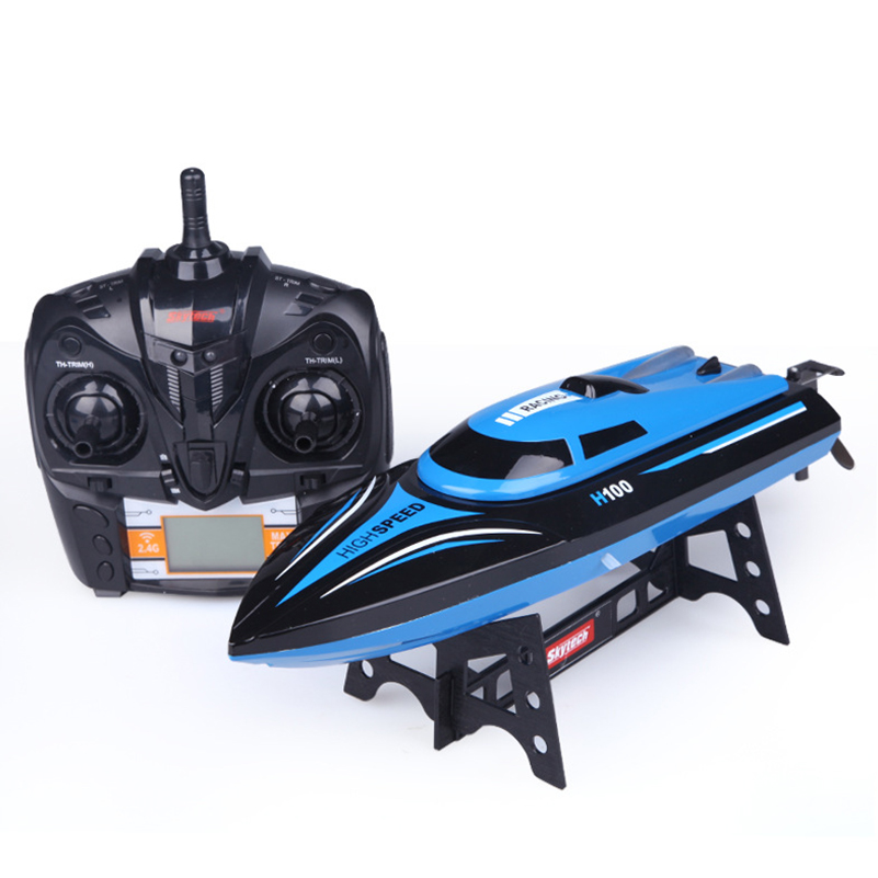 2.4G 4 CH H100 RC Boat 25km/h High Speed Racing RC Boat Toys Remote Control Ship Outdoors Racing Speedboat Toys for Kids Gifts
