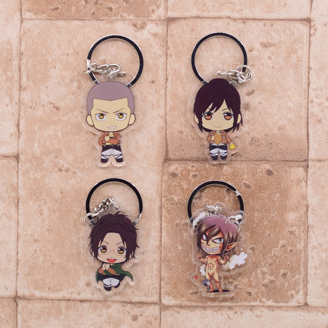 2019 Attack on Titan Keychain Double Sided Acrylic Key Chain Pendant Anime Accessories Cartoon Key Ring 4