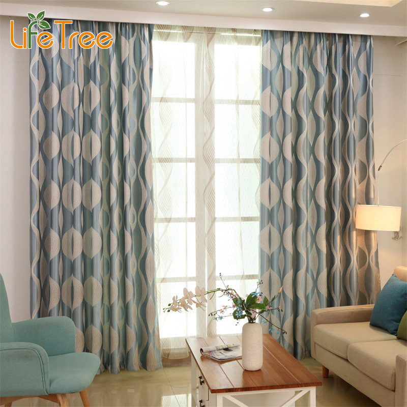 blue wave modern blackout curtains for bedroom living room window geometric drapes for kids. Black Bedroom Furniture Sets. Home Design Ideas