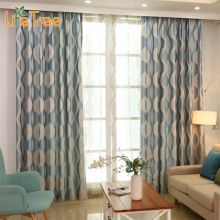 Blue Wave Modern Blackout Curtains For Bedroom Living Room Window Geometric Drapes For Kids Custom Made