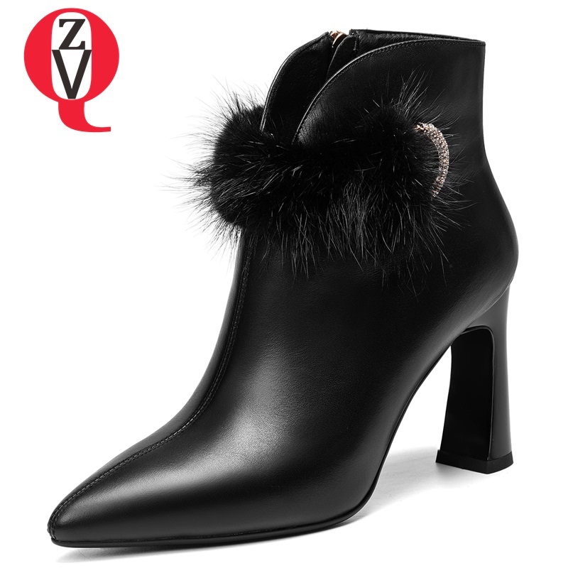 ZVQ 2018 new fashion fur decoration pointed toe super high square heel zip winter warm women ankle boots genuine leather shoes zvq 2018 winter hot sale new fashion square toe zipper high square heel genuine leather women ankle boots outside warm shoes