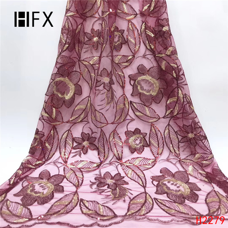 HFX 2019 latest wine red sequins french lace fabric high quality nigerian tulle lace fabric for luxury evening dresses F2279