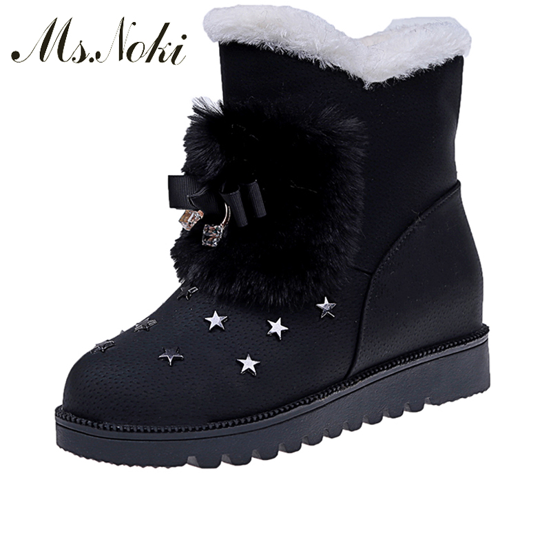 Ms. Noki Fur Women Winter Metal Star Platform Female Slip on Ankle Boots Warm Snow Boots Ladies Flock Shoes Woman Botas Size Hot ms noki fur new fashion style black ankle boots flats pointed toe back slip on boots pu flock woman shoes with warm fur outside