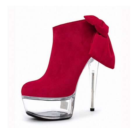 6 inch Platform side zipper fashion boot women top bows suede sexy 15cm ultra high heels short boots martin Crystal shoes 6 inch platform side zipper fashion boot women top bows suede sexy 15cm ultra high heels short boots martin crystal shoes