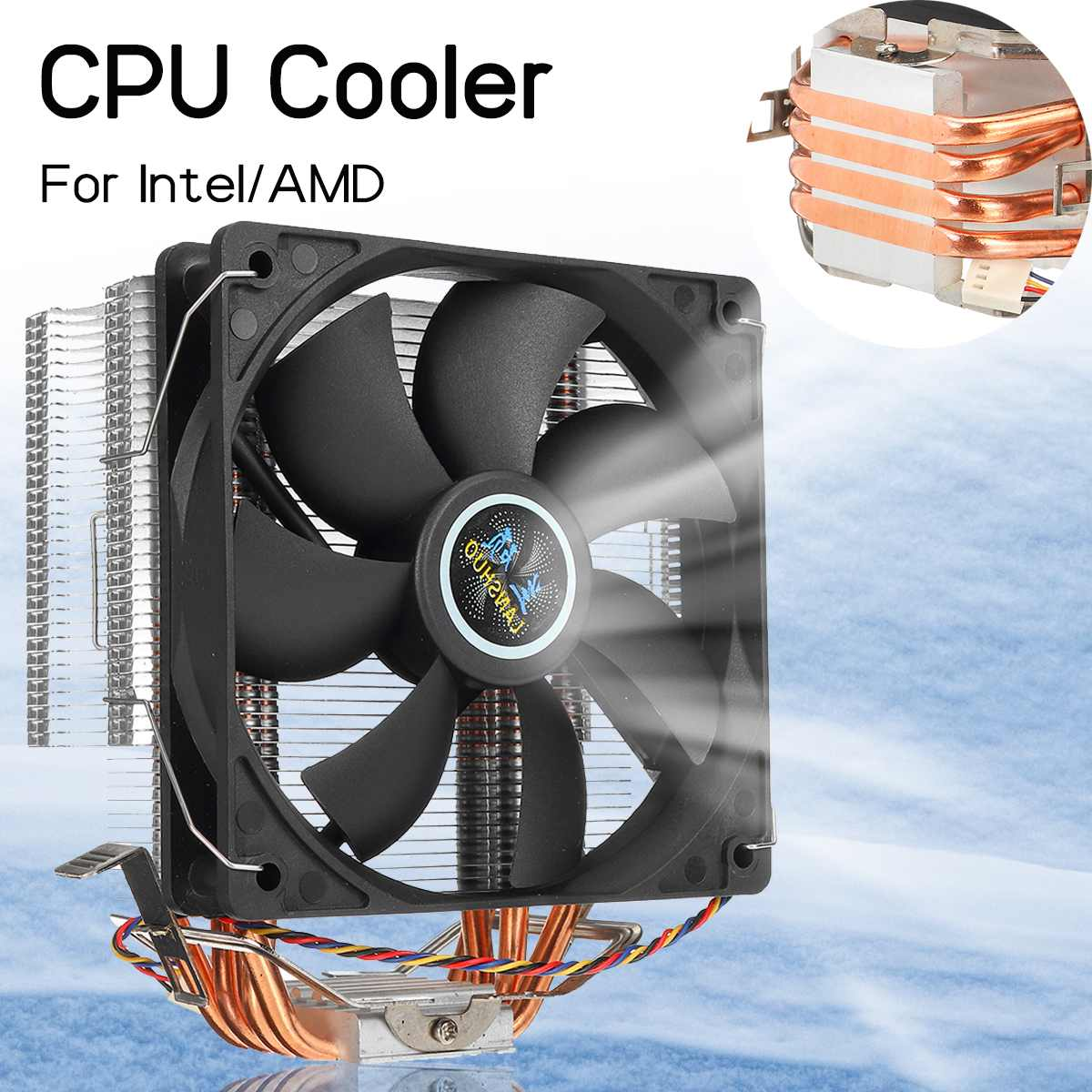 12cm 4 Heat Pipes CPU Cooler Aluminum 3Pin Cooling Fan Cooler Heatsink Radiator for LGA 1150/1151/1155/1156/1366/775 AMD AM3+