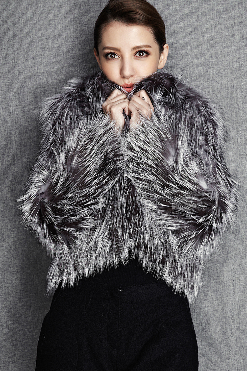 2015 New Arrival 100% Natural Silver Fox Fur Knitted Coat, Women's Real Fox Fur Outerwear SU-1521 EMS Free Shipping 9