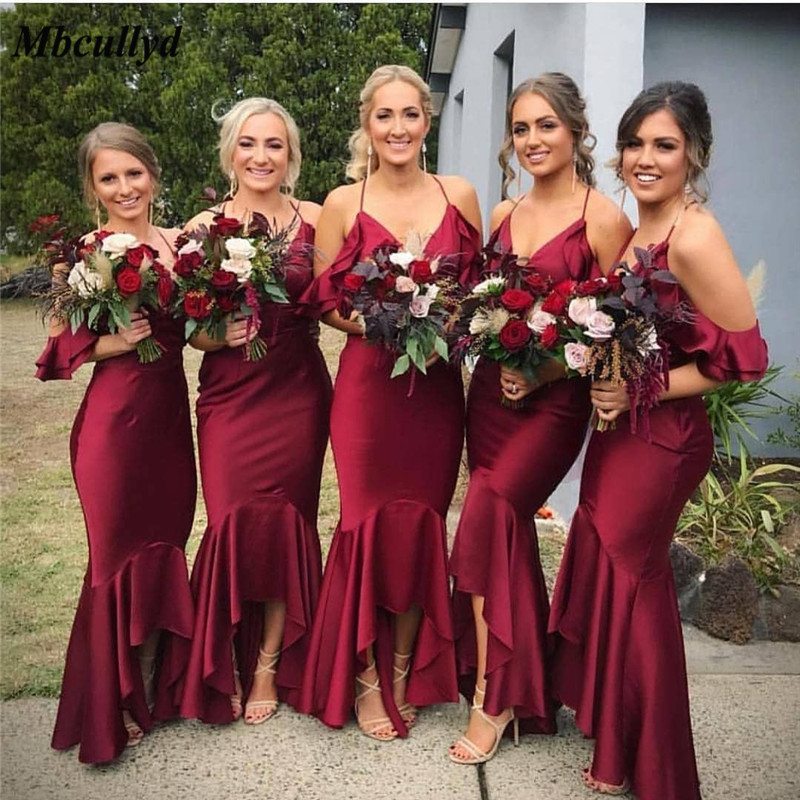 Mbcullyd Mermaid   Bridesmaid     Dresses   2019 Sexy Halter Neck Formal   Dress   for Wedding Party Burgundy Satin Wedding Guest   Dress