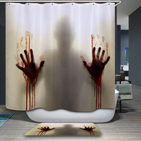 Bloody hands Skull Tattoo woman Shower Curtain Polyester Waterproof Fabric Bathroom Shower Curtains