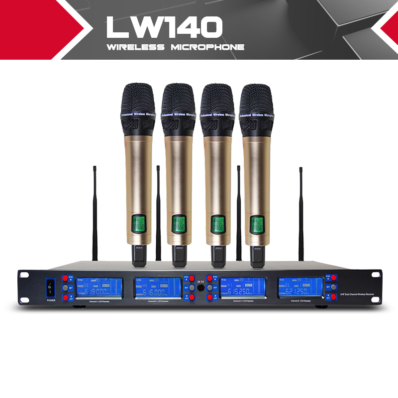 True Diversity !!!UHF Wireless Stage Microphone System Whole Metal Cordless handheld 4 Mic 4 X 100 Channel unique 4 channel uhf wireless microphone system