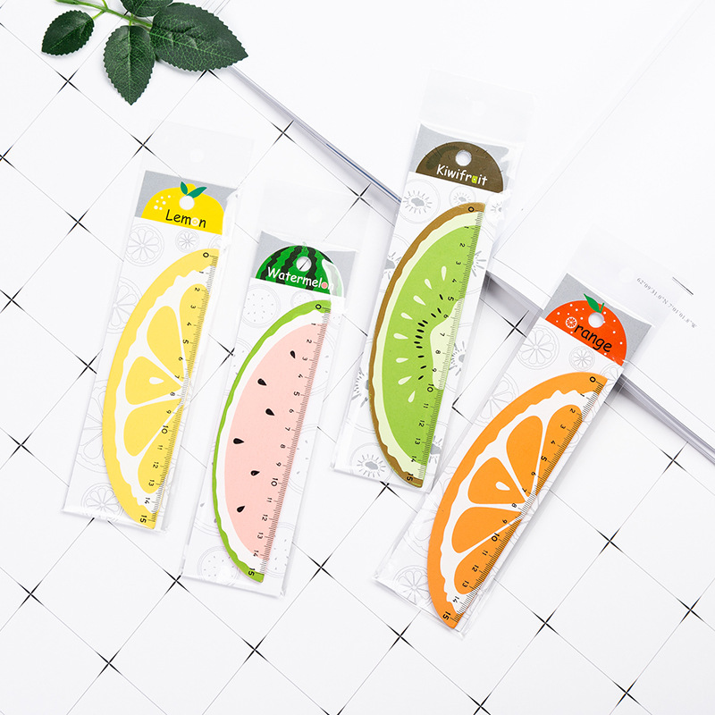15cm Kawaii Cartoon Fruit Watermelon Wooden Straight Ruler Measure Study Drawing Student Stationery School Office Supply Gift