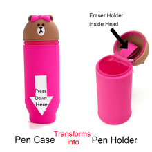 Round 3D Cartoon Soft Silicone  Pen Pencil Desk Holder Organizer for Students Girls Women Makeup Brush