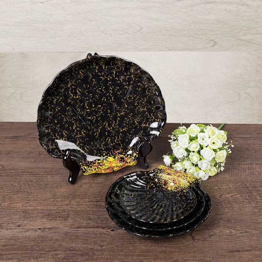 pas cher originalit en plastique collation plat plaques de vaisselle japonais irrgulire noir plateau de mlamine vaisselle en - Vaisselle Colore Pas Cher