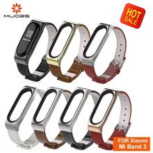 2019Mijobs Mi Band 3 Genuine Leather Strap For Xiaomi Bracelet Wristband Smart Watch Miband Replace Accessories
