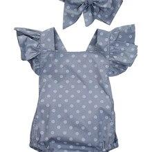 Emmababy Baby Girls Romper 2Pcs Set Polka Dot Rompe