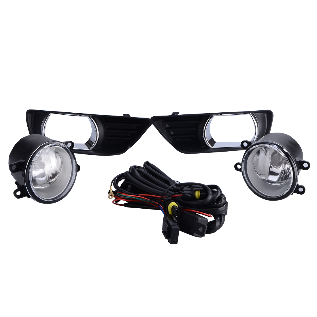 FOR TOYOTA CAMRY 07-09 BLACK/CHROME COVER GLASS LENS FOG LIGHTS LAMPS w/ SWITCH 1set front chrome housing clear lens driving bumper fog light lamp grille cover switch line kit for 2007 2009 toyota camry