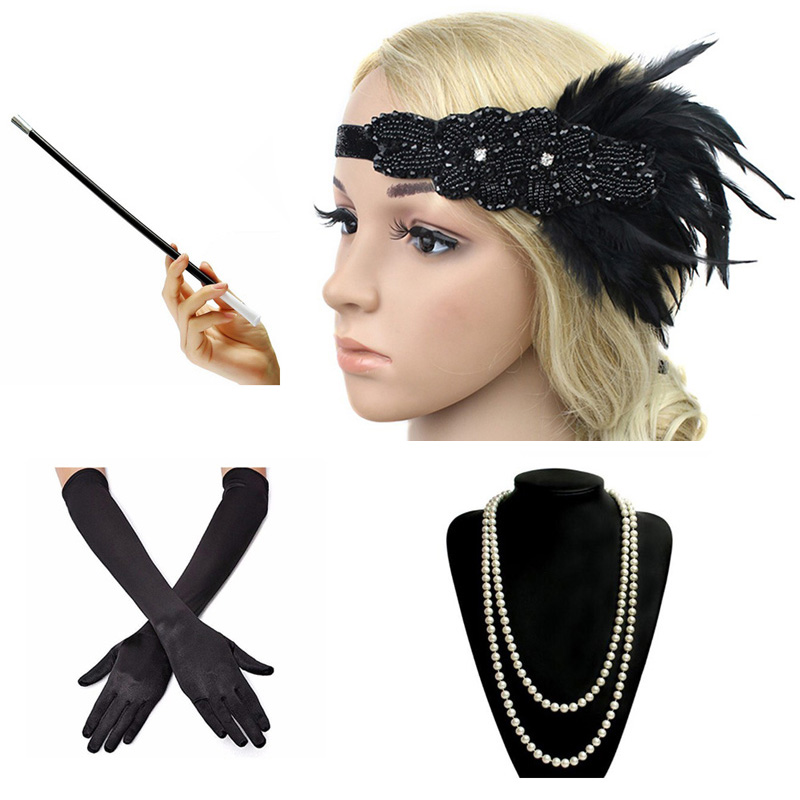 1920s Great Gatsby Party Costume Accessories Set 20s Flapper Feather Headband Pearl Necklace Gloves Cigarette Holder 4 Pcs Set chifres malevola png