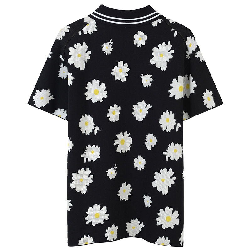 Grande taille fleur Jacquard T-Shirt rayé été élégant t-shirts femmes T-Shirt fermetures éclair pulls tricot hauts - 2