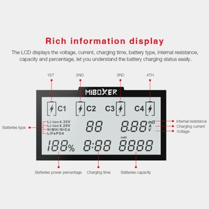 Image 5 - Miboxer C4 LCD Batterie intelligente Ladegerat fourrure Li Ion IMR ICR LiFePO4 3.7 v 18650 14500 26650 21700 AAA Batterien 100 800 mah 1.5A