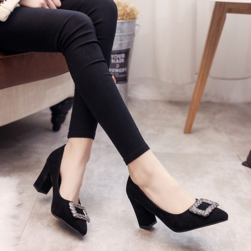 Single-Shoes Suede High-Heels Professional Pointed Korean-Version Black Womens Fashion