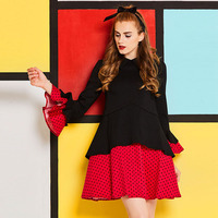 Sisjuly Women Dress 60s Vintage Patchwork Lapel Ruffles Gown Flare Sleeve A Line Women S Clothes