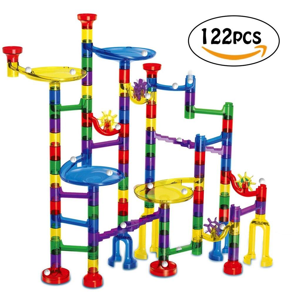 122 Pcs Marmor Run Spielzeug Marmor Spiel Stem Lernen Spielzeug, Bildungs Bau Bausteine Spielzeug, Marmor Set Geschenk Für Kinder