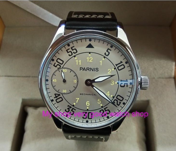 2017 new fashion 44mm PARNIS Milk white dial Asian 17 jewels 6497/3600 Mechanical Hand Wind movement mens watches DFGD130A2017 new fashion 44mm PARNIS Milk white dial Asian 17 jewels 6497/3600 Mechanical Hand Wind movement mens watches DFGD130A