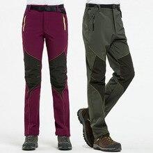 цена NUONEKO New Men Women Fleece Softshell Camping Hiking Pants Winter Outdoor Sports Trousers Trekking Ski Waterproof Pants PM18 онлайн в 2017 году