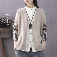 Knitted Sweater Women Spring Autumn New Knit Cardigan Large Size Loose Sleeve Print Female Sweater Coat Knitwear Blusa Top f1305
