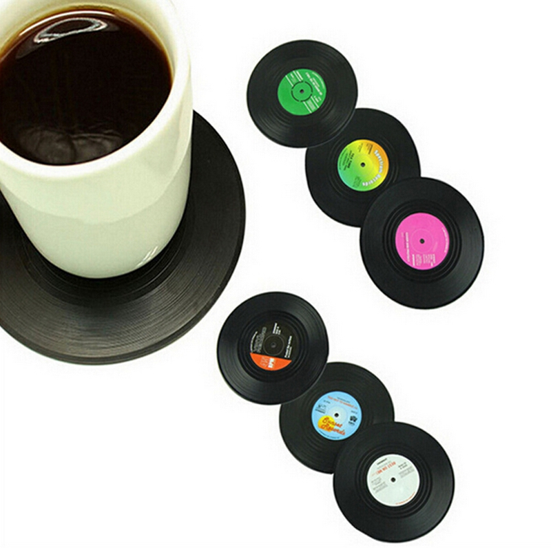 2015 new top fashion classic placemat 6pcs set retro cd coasters album slip vinyl cup mat record. Black Bedroom Furniture Sets. Home Design Ideas