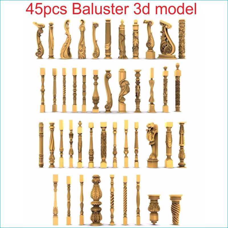 45pcs/set baluster 3d model STL relief for cnc STL format staircase column 3d model for cnc stl relief artcam vectric aspire 3d model relief for cnc in stl file format animals and birds 2