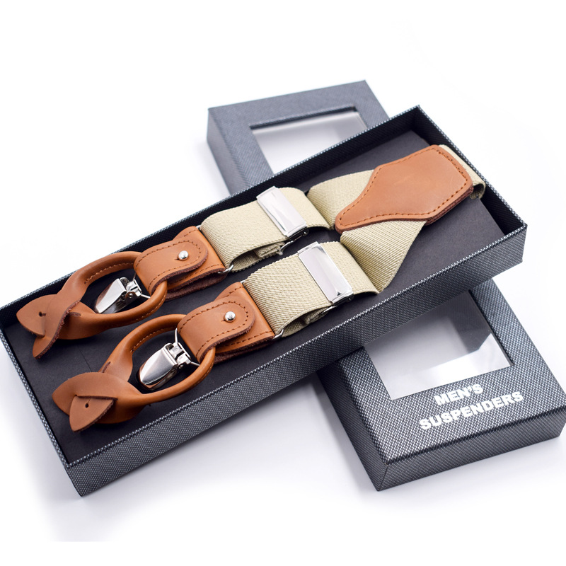 Men's Suspenders Leather Alloy 6 Clips Braces Male Vintage Casual Suspensorio Trousers Strap Father/Husband's Gift 3.5*120cm