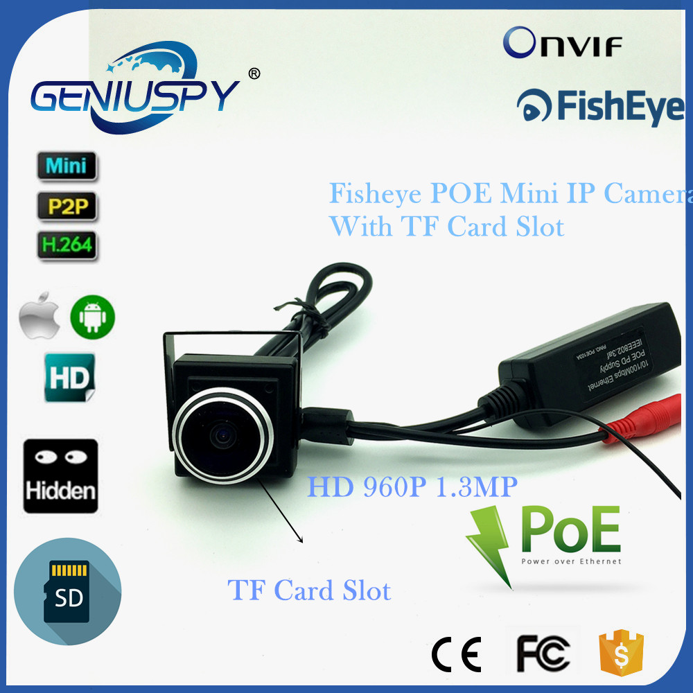 SD Card Slot POE Fisheye HD1280*960P 1.3MP Security Mini Type Indoor IP Camera POE Metal Housing ONVIF P2P IP CCTV Camera System for 3d printer part mks base2 v1 2 good for metal chassis preset sd card slot perfect anti interference excellent stability