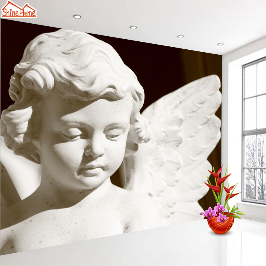 ShineHome-Flying Angle Statue Europe 3d Embossed Wallpaper Mural Wallpapers for 3 d Living Room Non Woven Walls Mural Wall Paper shinehome red van gogh almond blossom painting wallpaper rolls for 3d walls wallpapers for 3 d living rooms wall paper murals