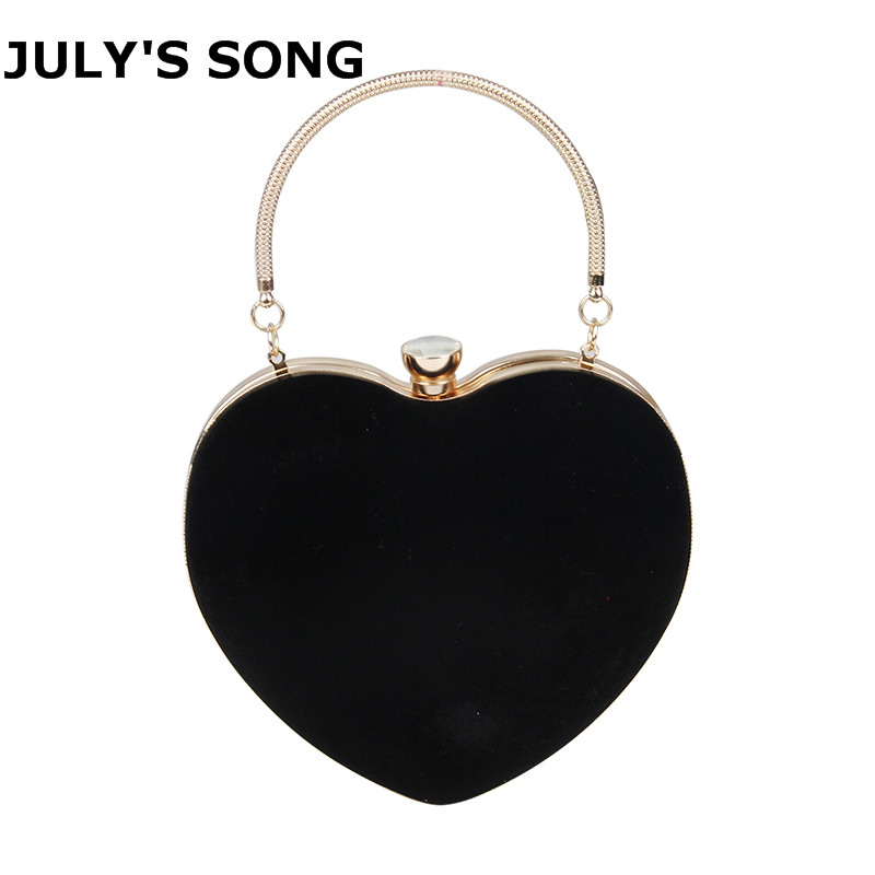 Women Evening Bags Heart Shaped Diamonds Red/Black Chain Shoulder Purse Day Clutches Evening Bags For Party Wedding Banquet Bag heart shaped decor star chain bag