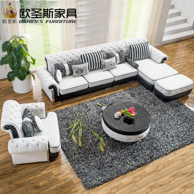 L Shaped Post Modern Italy Genuine Real Leather Sectional Latest Corner  Furniture Living Room Sofa Set Part 53