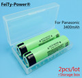 2PCS 100% New Original NCR18650B 3.7 v 3400 mAh 18650 Lithium Rechargeable Battery For Panasonic batteries+ Battery Storage box