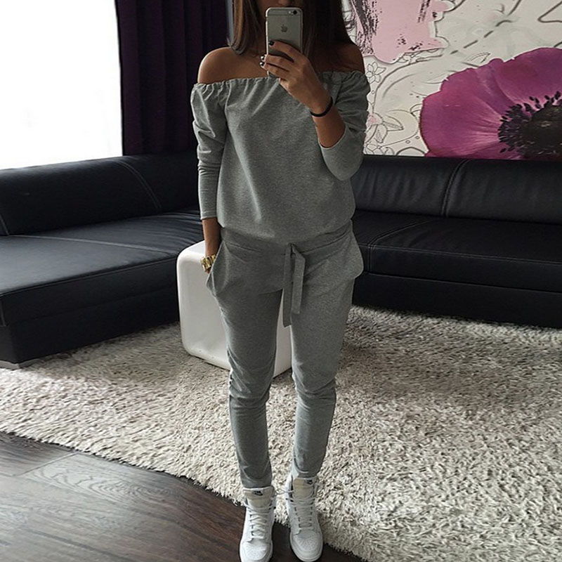 2018 Women Tracksuits 2 Piece Set Long Sleeves Boat Neck Shirt + Sport Pants Spring Autumn Jogging Running Suits Sportswear