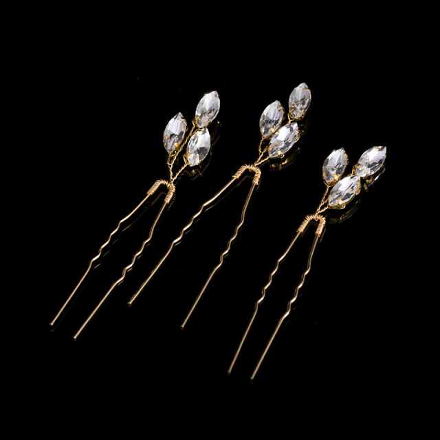 TREAZY 3pcs/lot Bridesmaid Bridal Crystal Leaf Hairpins Handmade Women Wedding Hair Accessories Headpiece Veil Hair Jewelry