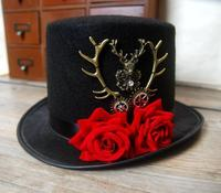 Steampunk Gear Deer Head Top Hat Retro Gothic Lolita Fedoras Hats With Rose Flower