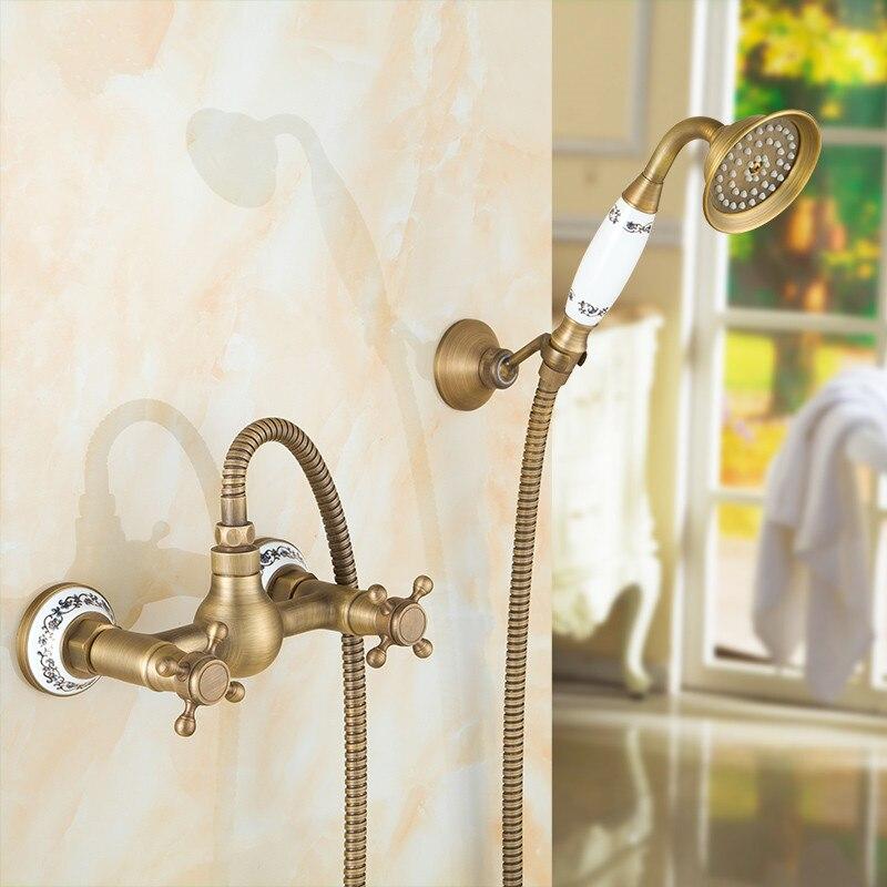 BOCHSBC Round Telephone Shower Set Brass Antique Copper Bathroom ...