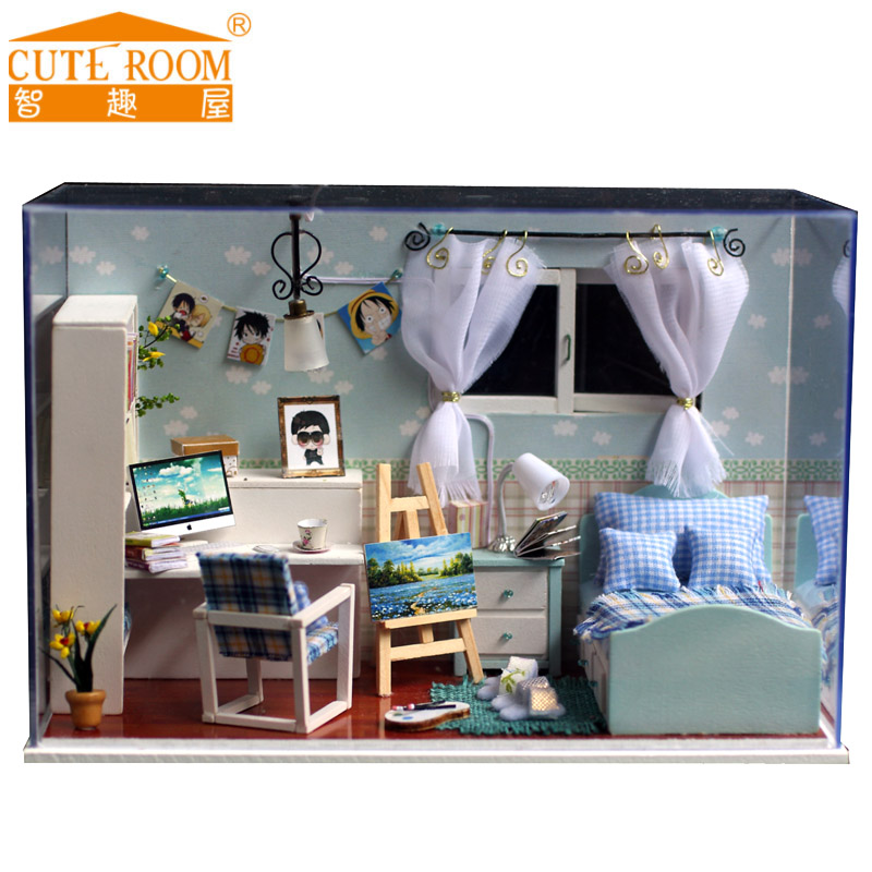 2016 Rushed Home Decoration Crafts Diy Doll House Wooden Houses Miniature Dollhouse Furniture Kit Room Led Lights Gift T-005